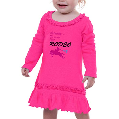 Actually This is My First Rodeo. Taped Neck Toddler Girl Ruffle Cotton Long Sleeve Sunflower Dress - Hot Pink, 18 Months for $<!--$30.99-->