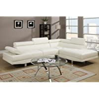 Modern Cream White Faux Leather Sectional