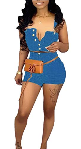 Womens Fashion Summer Spaghetti Straps 2 Piece Jeans Outfit Sleeveless Denim Tank Crop Top Shorts Set Jumpsuit 5 XS
