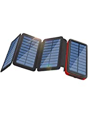 Solar Charger 26800mAh Portable Power Bank, 4 Foldable Solar Panel 2 Input 2 Output Huge Capacity Solar Charger Compatible with Smartphones, Tablets, etc, Water-Resistant Charger with LED Flashlight