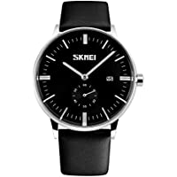 Gets Men Classic Watches Leather Strap Simple Dial Date Calendar Analogue Display Wrist Watch (Black Strap with Black face)