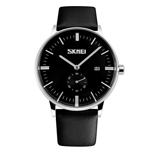 Gets Men Classic Watches Leather Strap Simple Dial Date Calendar Analogue Display Wrist Watch (Black Strap with Black face) -
