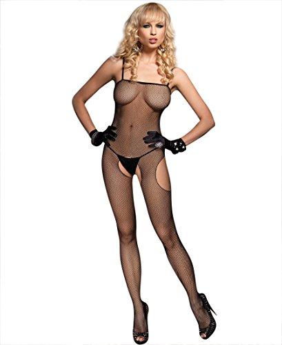 Leg Avenue 8672 Women's Fishnet Suspender Bodystocking - One Size - Black