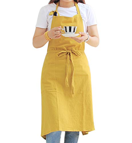(Kitchen Cooking Apron for Women & Men - Extra Long Waist Ties, Adjustable Neck Strap, Japanese Style, Cool Cotton Fabric for Ladies Baking (Plain Yellow))