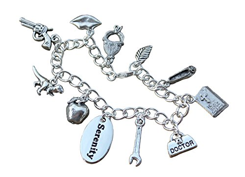Firefly Charm Bracelet- Pewter Charms, Silver Plated Chain- Handmade- Science Fiction Fan- Size Small (7 inches) (Firefly Charm)