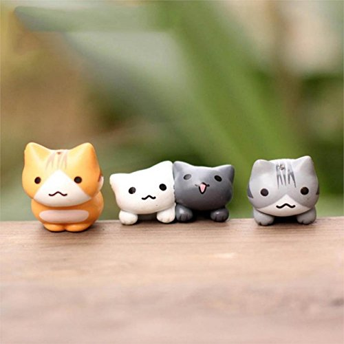 Miniature Lucky Cats - 6 Pieces/Set Cartoon Lucky Cats Micro Landscape Kitten Microlandscape Pot Culture Tools Garden Bonsai Decorations Miniatures - RANDOM DESIGN (Decorations Raindeer)