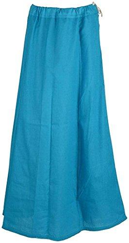 Blue Sari Turquoise (Sari Petticoat Stitched Saree Petticoat Adjustable Waist Sari Skirt (Turquoise))