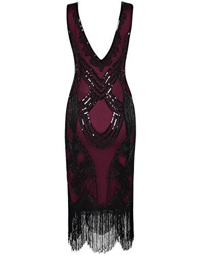 PrettyGuide Perlina Borgogna Da Donne Gatsby Cocktail Frange Deco Paillettes Vestito Flapper Art 1920s Or1HqxwO