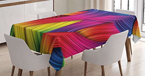 Ambesonne Abstract Home Decor Tablecloth, Colorful Abstract Twirl Wavy Stripe Retro Illustration Summery Sunny Joyful, Dining Room Kitchen Rectangular Table Cover, 52 X 70 inches