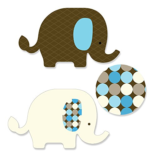 Blue Baby Elephant - DIY Shaped Baby Shower or Birthday Party Cut-Outs - 24 Count