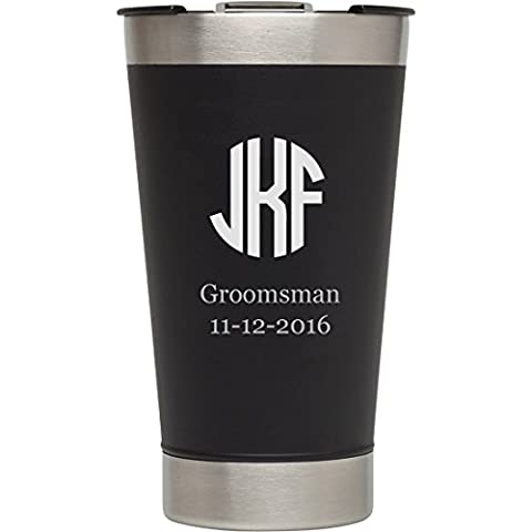 Personalized Stanley Black Matte Vacuum Insulated Beer Pint, Free Engraving - Monogram Pint Glass