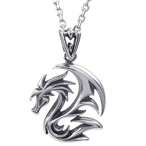 "KONOV Mens Gothic Dragon Stainless Steel Pendant Necklace, Black Silver, 24"" inch Chain"