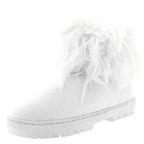 Mujer Largo Pelaje CoveRojo Lluvia Forrada De Piel Invierno Impermeable Short Nieve Botas Blanco