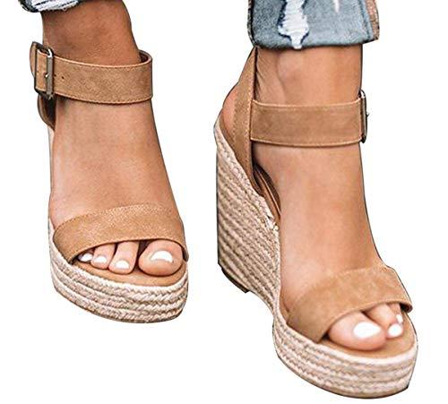 DEARWEN Women's Espadrilles Wedge Sandals Open Toe Ankle Strap Platform Heeled Cute Sandals Khaki 6.5