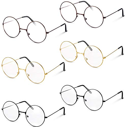 6 Pairs Metal Frame Wizard Glasses Round Wire Costume Glasses Vintage Clear Lens Glasses Black