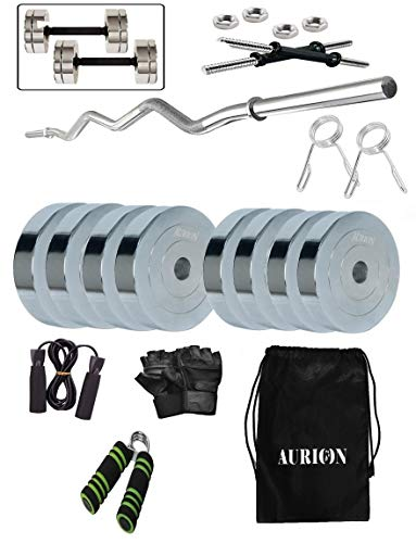 Aurion 18 Kg Chrome Steel Weight Plates Home Gym Pack