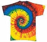 Tie Dye H1000 Adult Tie-Dyed Tee - Rasta Blue Spiral, Large