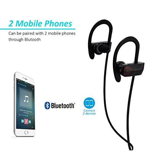 JTD ® Professional Wireless Bluetooth Headphones IPX6 Waterproof Sweat Proof Noise Cancelling Light-weight Headphones Bluetooth Earbuds Headset Earphones for Sports, designed to Stay in Ears