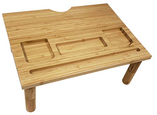 Adorn Home Essentials - Soporte de computadora para monitor de madera de bambú natural con altura ajustable, para...