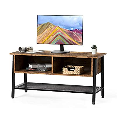 Kicode TV Stand, TV Console Table for Flat Screens, TV Table with Storage Drawer and Wire Mesh Shelf, Entertainment Units, Media Cabinets for Living Room and Office, Rustic Brown - 【Elegant and Sturdy】The stand evokes a rustic charm when you place this TV stand in your living room. That pairs well with your rustic or industrial-chic home or office. The media cabinets also have a stronger metal frame. Results in it combine elegant and sturdy. 【Superior Capacity】This TV console table has a large tabletop for your TV. holds up to 110 lbs. The Length of the tabletop 42.5'', Ideal for living home, entertainment room, rest area. 【Drawer and Shelf】The Tv Stand with dual open storage drawer and a wire shelf, accommodate DVD, game system, or Blue-ray player. Ideal for your TV in the living home. - tv-stands, living-room-furniture, living-room - 41xjYmDVx2L. SS400  -