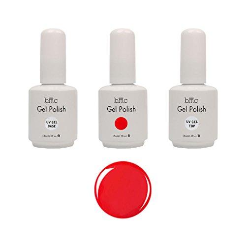 BMC UV LED Gel Nail Art Polish 3pc Kit One Color Red Top Base Coat Manicure Set