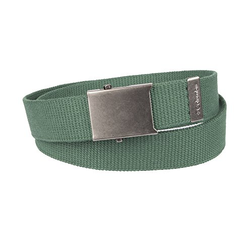 Columbia Men's Military Web Belt - Casual for Jeans Adjustable One Size Cotton Strap and Metal Plaque Buckle,Green,One Size