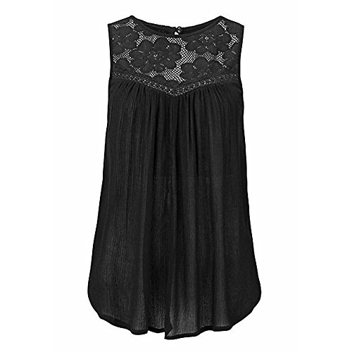 (High Neck Floral Tank Tops for Womens Flowy Halter Casual Sleeveless Tops Lace Flowy Loose Top Cami Shirt (L, Black))