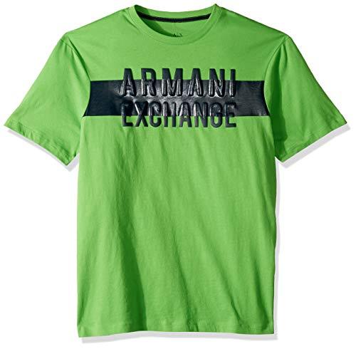 A|X Armani Exchange Men's Short Sleeve Crew Neck Logo T-Shirt, Classic Green, M - Mens Green Armani T-shirts