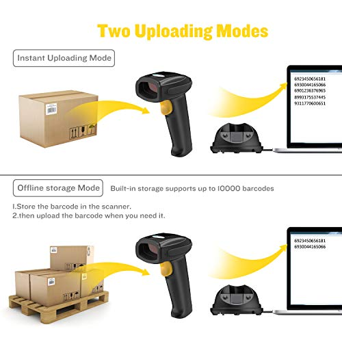 Esky Wireless Barcode Scanner 328 Ft Transmission Distance USB Cordless 1D Laser Automatic Barcode Reader Handheld Bar Code Scanner with Quick Charge Base Stand for Shop, Store, Supermarket, Warehouse by Esky (Image #5)