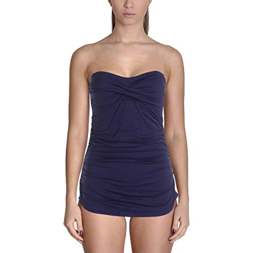 Anne Cole Women's Twist-Front Shirred Bandeau Dress One Piece Swimsuit, Navy, 6