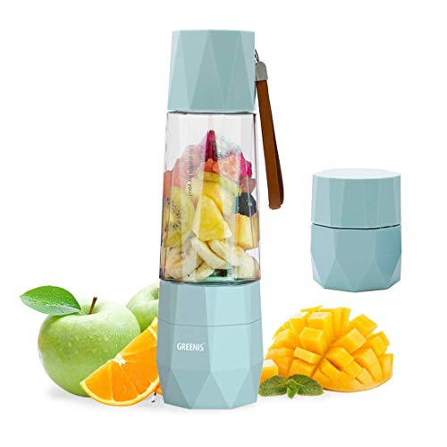 GREENIS Upgrade Electric Smoothie and Shake Blenders   Vacuum Design   Portable Personal Juicer Maker   USB Rechargeable   Ice Crusher   Fruit Mixer Machine   Food Processor   with Bottle for Travel (Processor Food Ice Blue)
