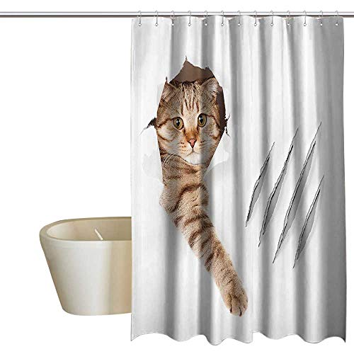 MaryMunger Animal Shower stall Curtains Funny Cat in Wallpaper Hole with Claw Scratches Playful Kitten Cute Pet Picture Shower Curtain Cool W48 x L72 Brown White