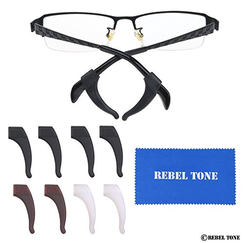 Eyeglass Ear Grip Hooks - 8 Pair - 4x Black, 2x Brown, 2x White Transparent - The Earpiece Covers Allow a Perfect Fit and Prevent Your Glasses from Slipping Off - Perfect Glasses Fit