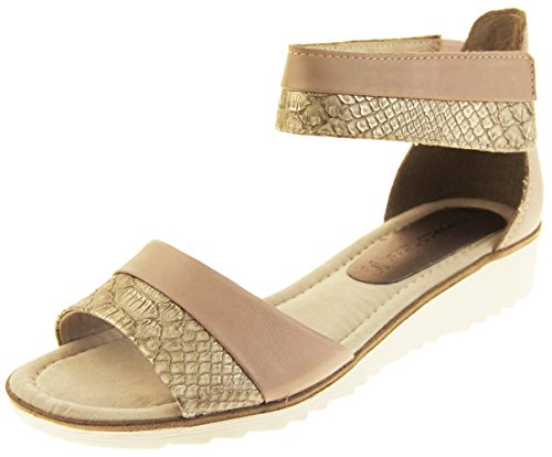 Mujer Marco Tozzi Zapatos de las sandalias del día de fiesta del verano del gladiador de la cuña Rosa