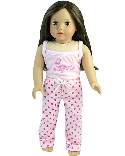 Doll Pajamas fit for 18 Inch American Girl Dolls Sleepwear, 2 pc. set PJ's of Heart Print Pants & Love or Valentine Tank Top