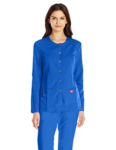 Dickies Women's Xtreme Stretch Crew Neck Snap Front Warm-up Jacket, Royal, (Cool Crew Jacket)