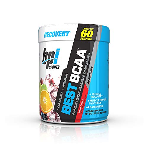 BPI Sports Best BCAA - BCAA Powder - Branched Chain Amino Acids - Muscle Recovery - Muscle Protein Synthesis - Lean Muscle - Improved Performance - Hydration - Fruit Punch - 60 Servings - 1.32 Pound (Bpi Best Bcaa Shredded)