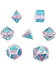 DollaTek 7PCS DND spel Polyedrische D & D dobbelstenen set van massief metaal met opbergtas en zinklegering met email voor rollenspel Dungeons en draak (Double Color Mix Blue en Pink)