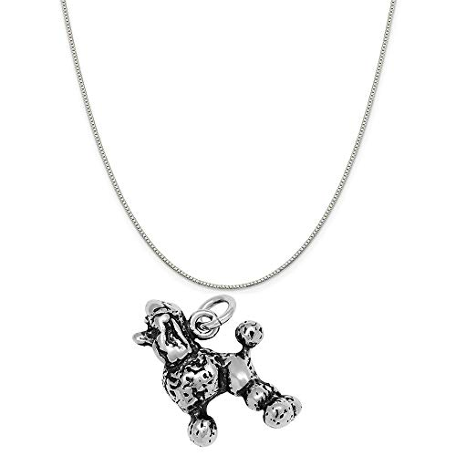 Raposa Elegance Sterling Silver 3D Poodle Charm on a Sterling Silver 20