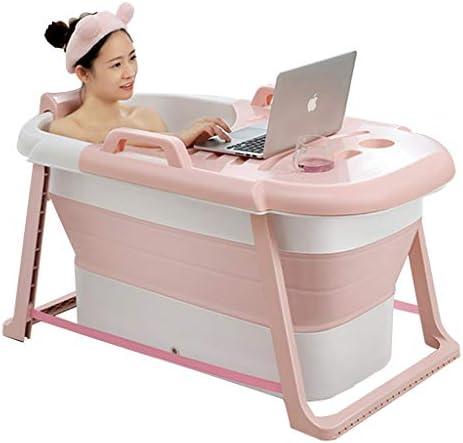 浴槽 浴槽 大人用折りたたみ式浴槽 大型家庭用浴槽 断熱肥厚浴槽(最大荷重100kg) (Color : Pink, Size : 117*65*60cm)
