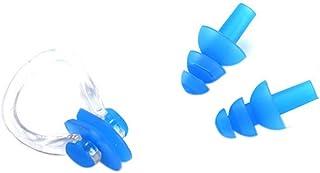 Pigupup Natation Silicone Pince-Nez avec Bouchons d'oreille Ensemble pour la Natation ou Autres Sports Nautiques Bleu