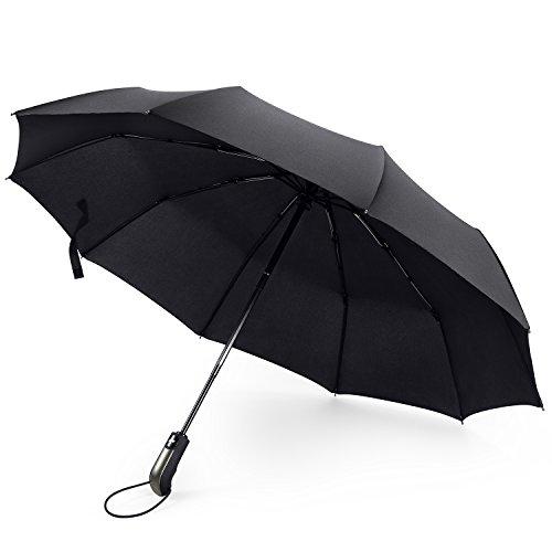 FYLINA Umbrella Travel Umbrella Waterproof Windproof Black Folding Large Rain Umbrellas 10 Ribs Automatic Open Close Compact Lightweight for Outdoor
