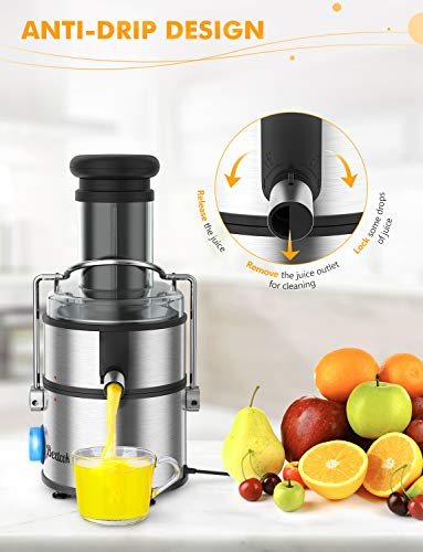 """Juice Extractor, Bextcok Centrifugal Juicer Machines Ultra Fast Extract Various Fruit and Vegetable Electric Juice Extractor with 3"""" Large Feed Chute BPA Free Easy Clean for Orange Celery Carrot"""