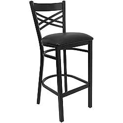Flash Furniture HERCULES Series Black ''X'' Back Metal Restaurant Barstool - Black Vinyl Seat