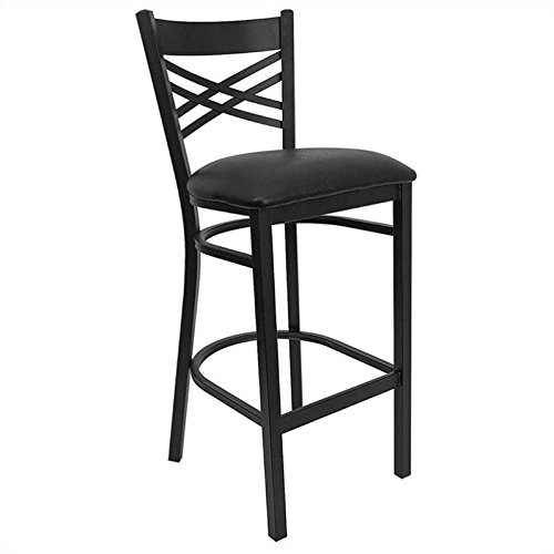 Flash Furniture HERCULES Series Black ''X'' Back Metal Restaurant Barstool - Black Vinyl Seat by Flash Furniture