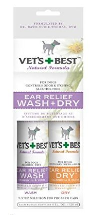 Vet's + Best Ear Relief Wash+Dry For Dogs, each bottle contains 4fl./120ml 1 set (3 pack)