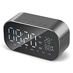 FXMINLHY Digital Alarm Clock Bluetooth Speaker,Bedside Wireless Wake-up Alarm Clock Speaker LED Display Dual Alarm Built-in Mic Fm Radio,AUX in/TF Card,U Disk (Grey)