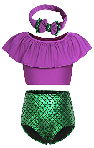 HenzWorld Little Mermaid Swimsuit Costume Kit Ariel Princess Dress Up Cosplay Birthday Beach Party Outfit -