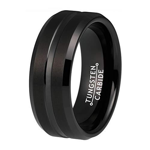 BestTungsten 8mm Black Tungsten Rings for Men Women Wedding Bands Satin Finish Beveled Edges Comfort Fit
