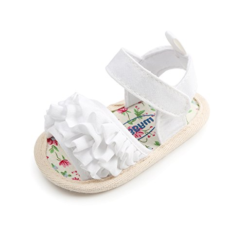 Sabe Summer Infant Baby Girls Sandals Striped Bowknot Soft Rubber Sole First Walker Shoes (0-6 Months, A-White)